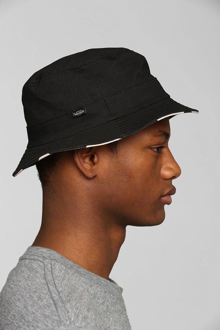 b33c52eb47 Lyst - Vans Checker Reversible Bucket Hat in Black for Men