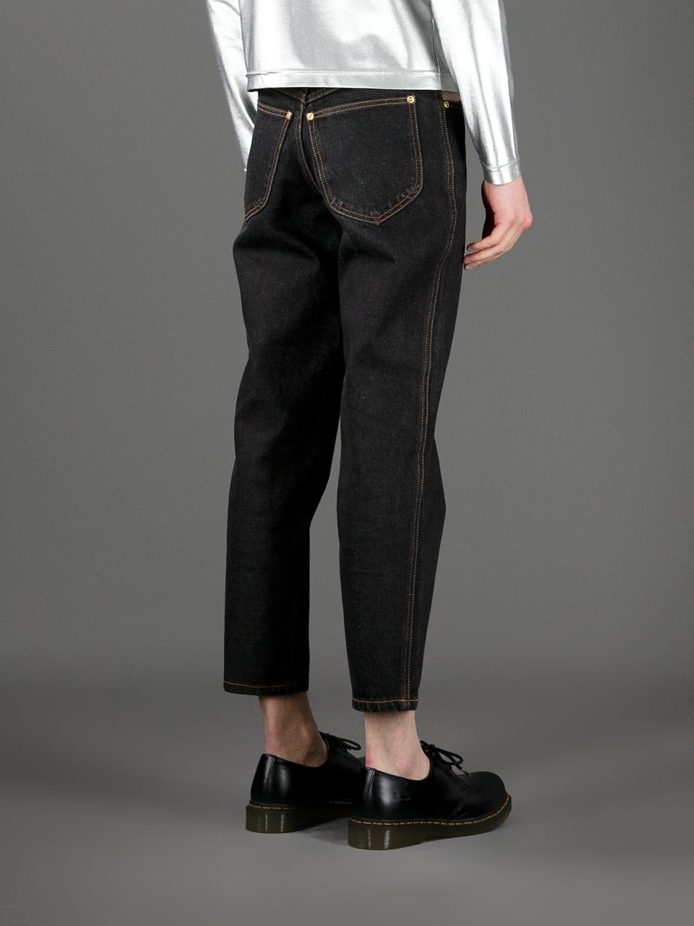 Lyst Jean Paul Gaultier Cut Away Cropped Jeans In Black