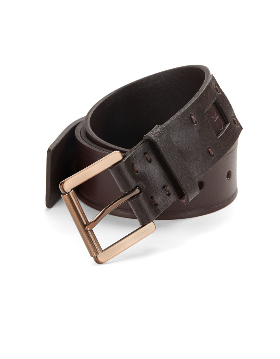 calvin klein leather belt in brown for lyst