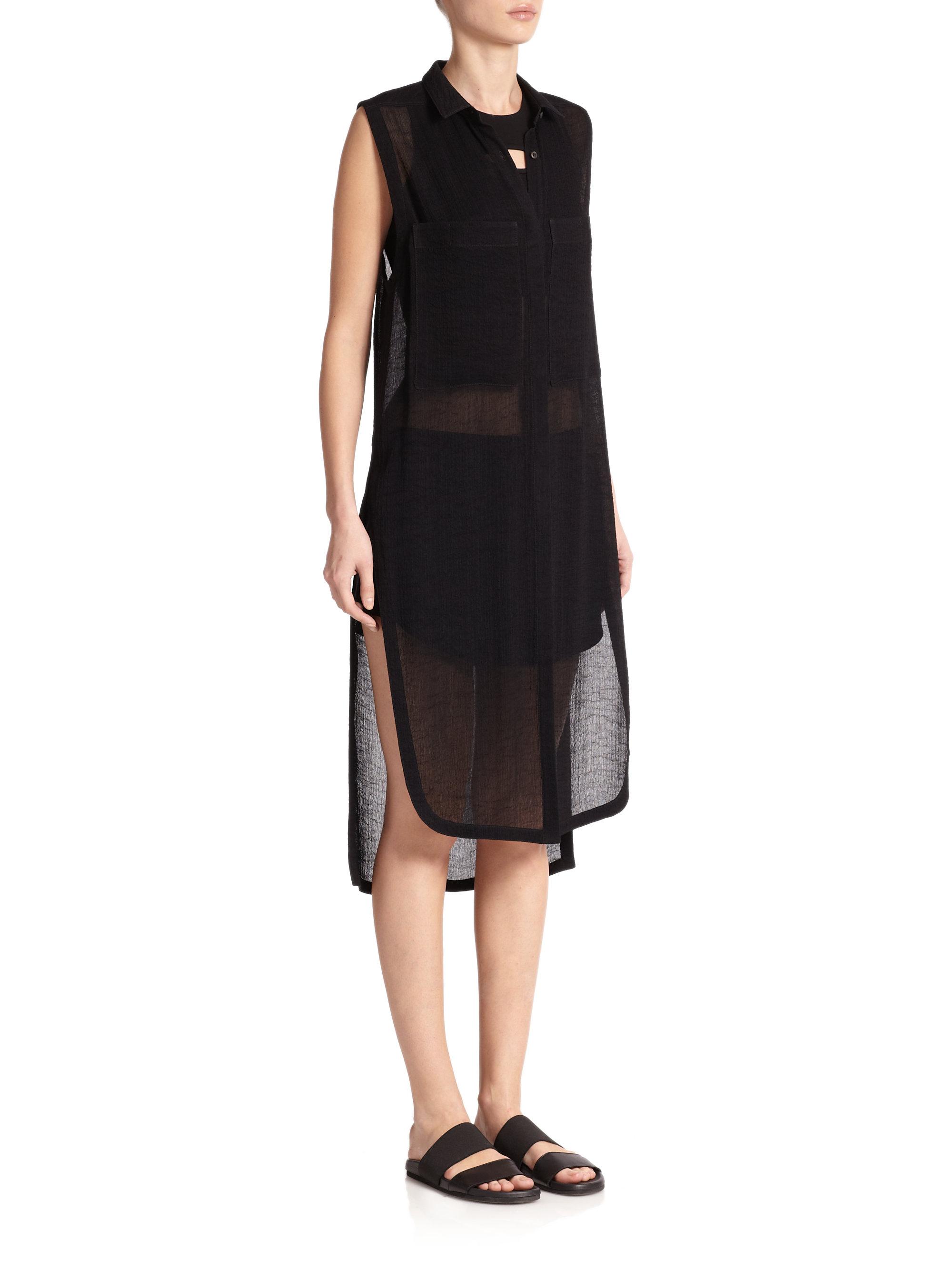 Helmut lang Swift Sleeveless Sheer Shirt Dress in Black   Lyst