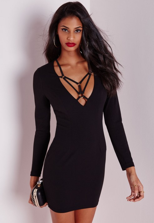 Missguided Long Sleeve Harness Detail Bodycon Dress Black