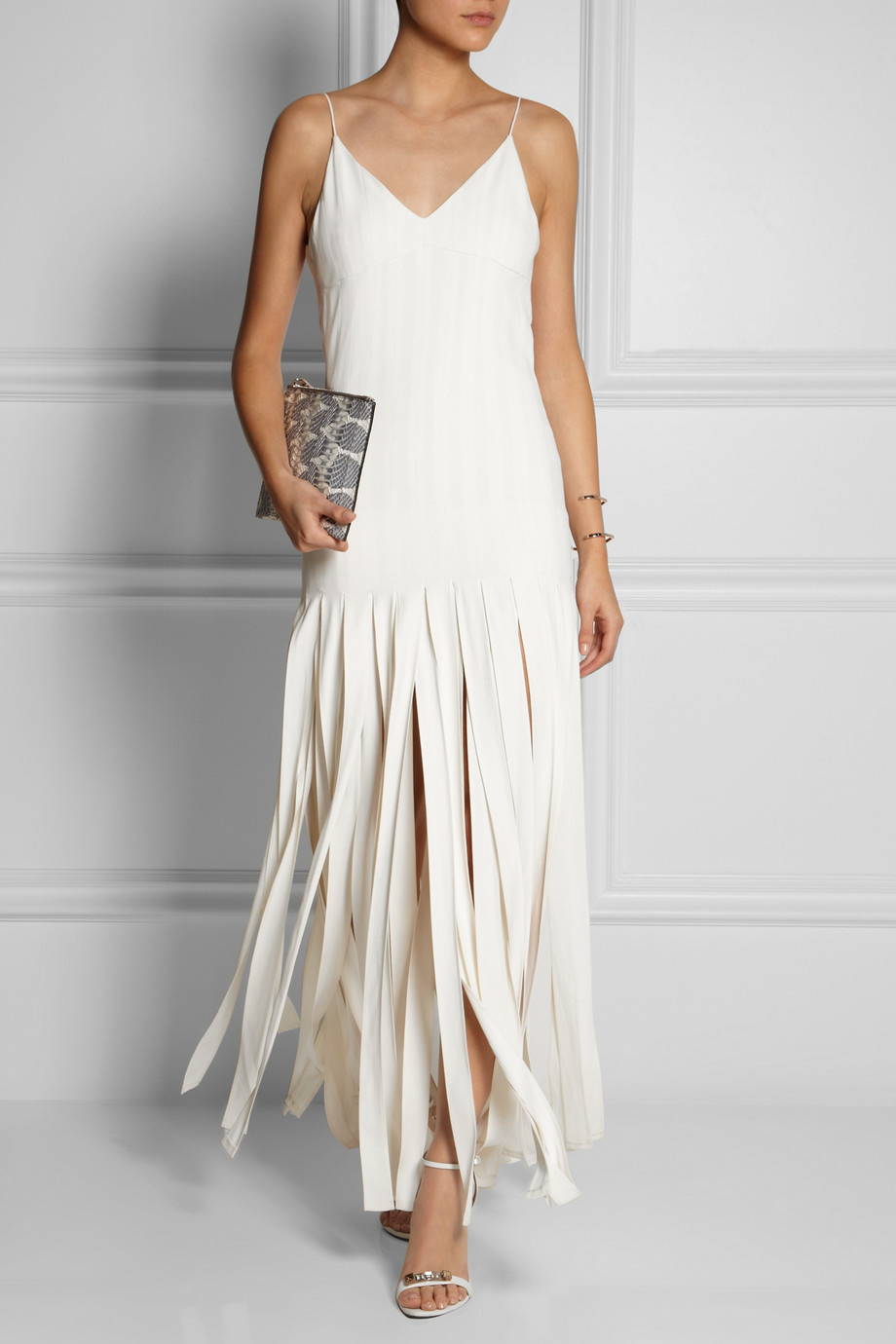 Topshop Fringed Stretchcrepe Maxi Dress In White Lyst