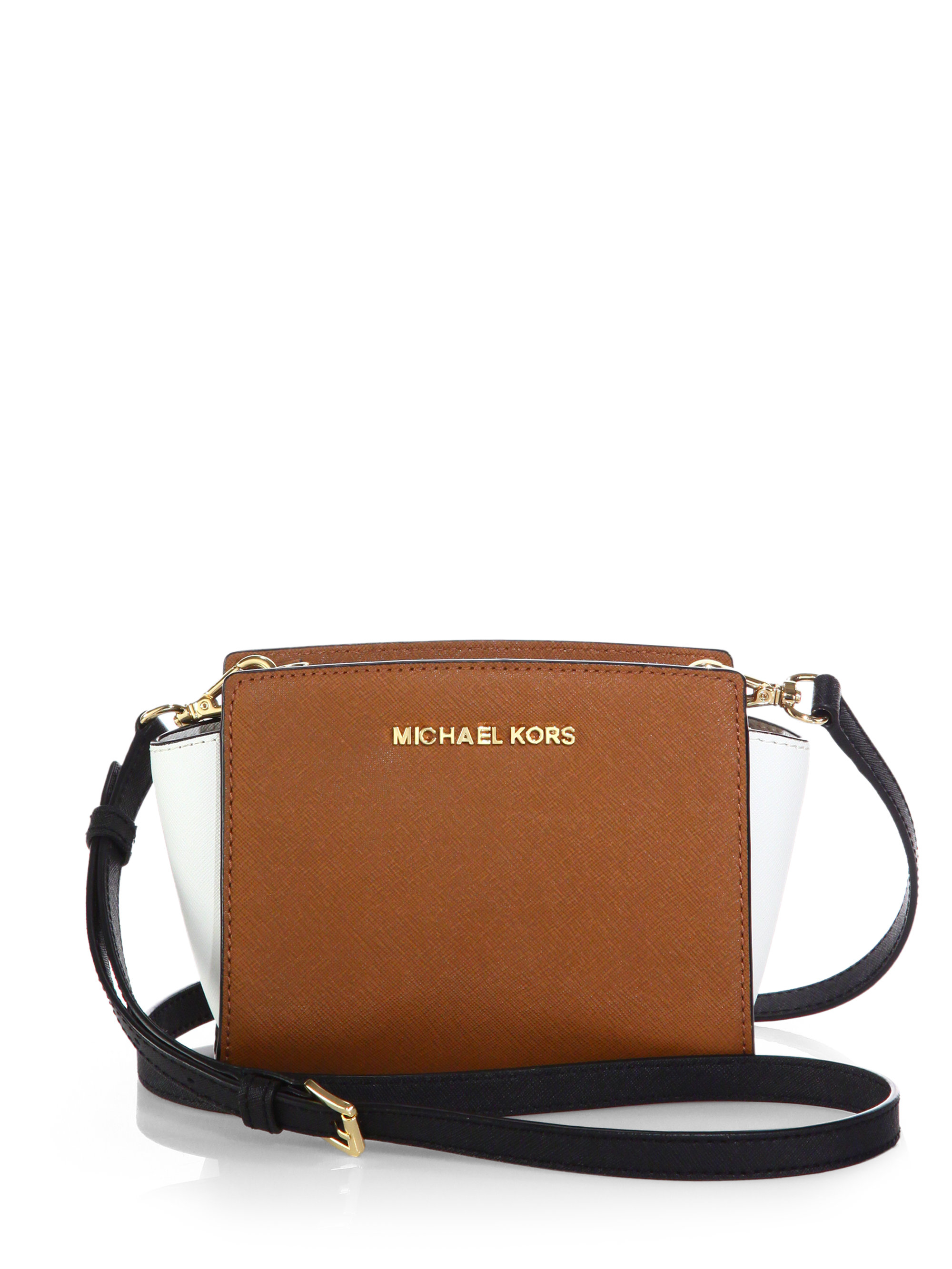 14c2706def379 ... germany lyst michael michael kors selma two tone medium messenger bag  in brown bb0a6 e87e0