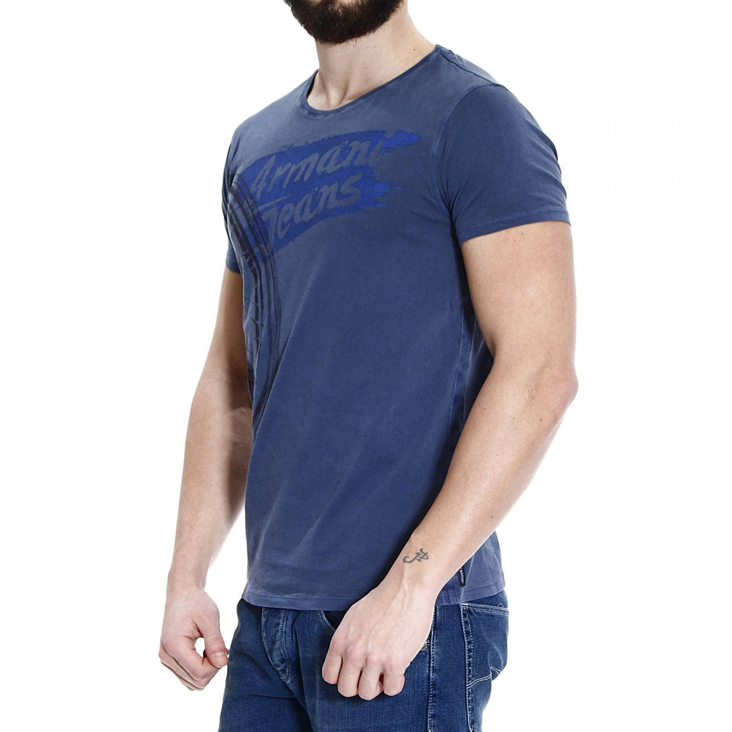 Giorgio Armani T Shirt Half Sleeve Crew Neck Cotton Washed