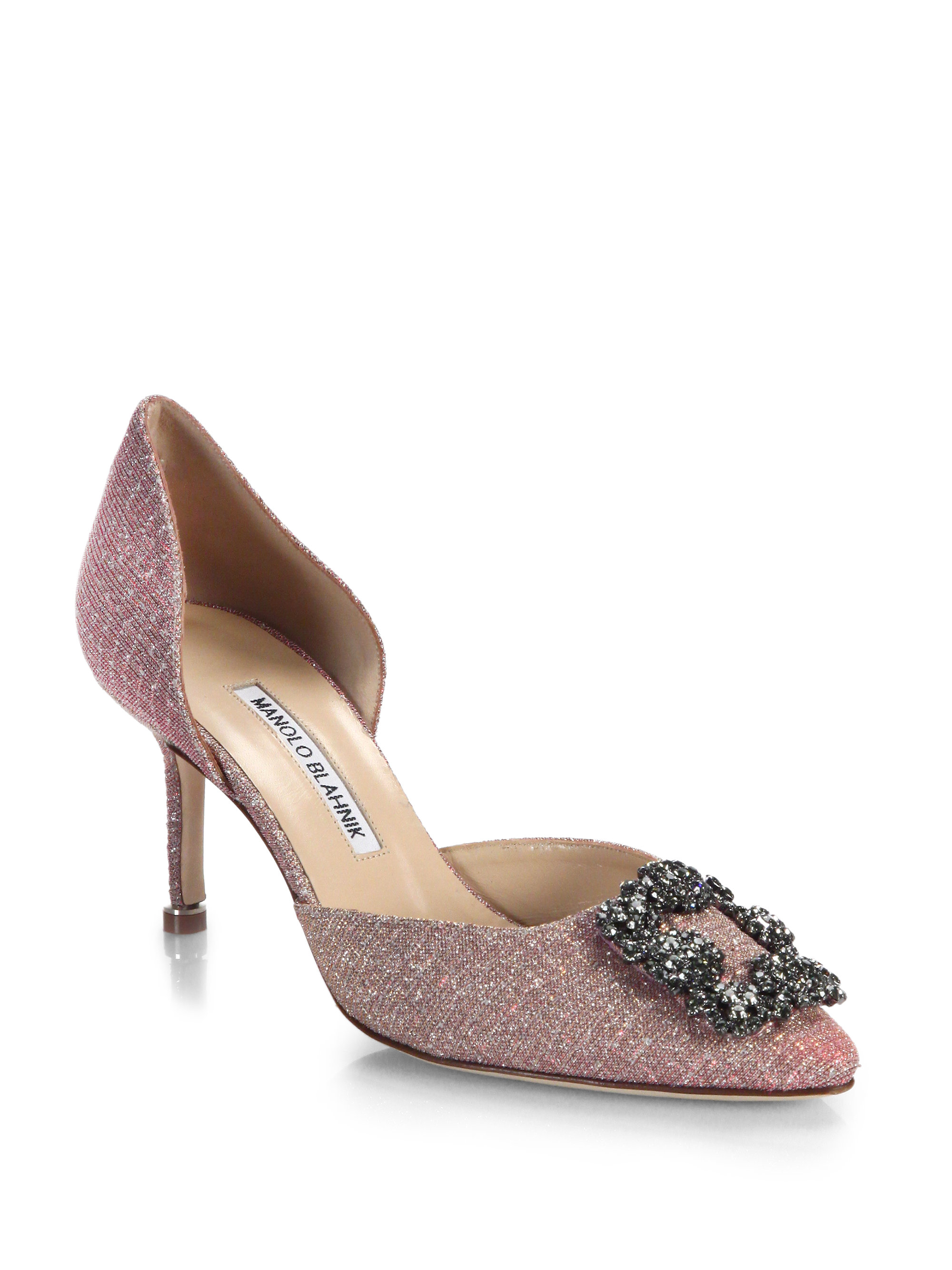 b1aaaabfde05 ... promo code for lyst manolo blahnik jeweled metallic dorsay pumps in  pink c84b2 bc612
