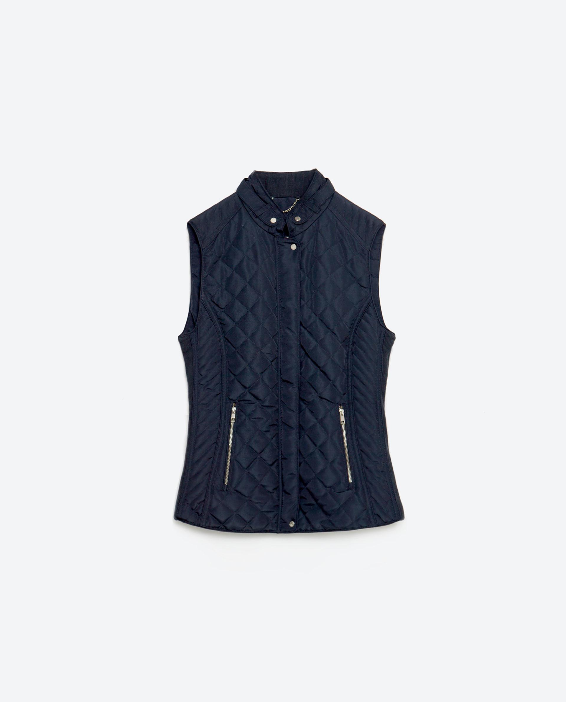 Zara Contrast Knit Waistcoat In Black Navy Blue Save