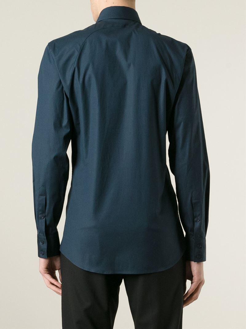 Lyst alexander mcqueen strap detail shirt in blue for men for Alexander mcqueen shirt men