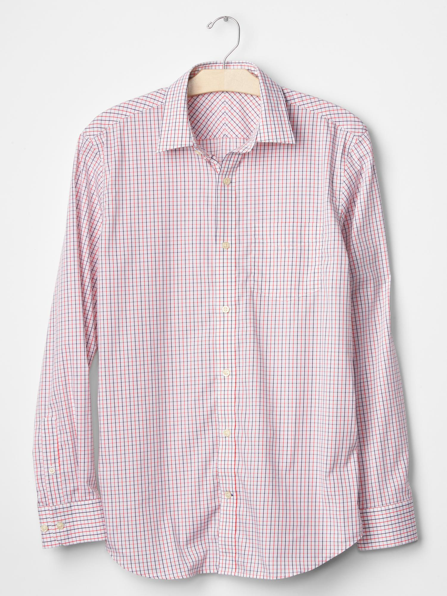 Gap wrinkle resistant windowpane standard fit shirt in red for Wrinkle resistant dress shirts