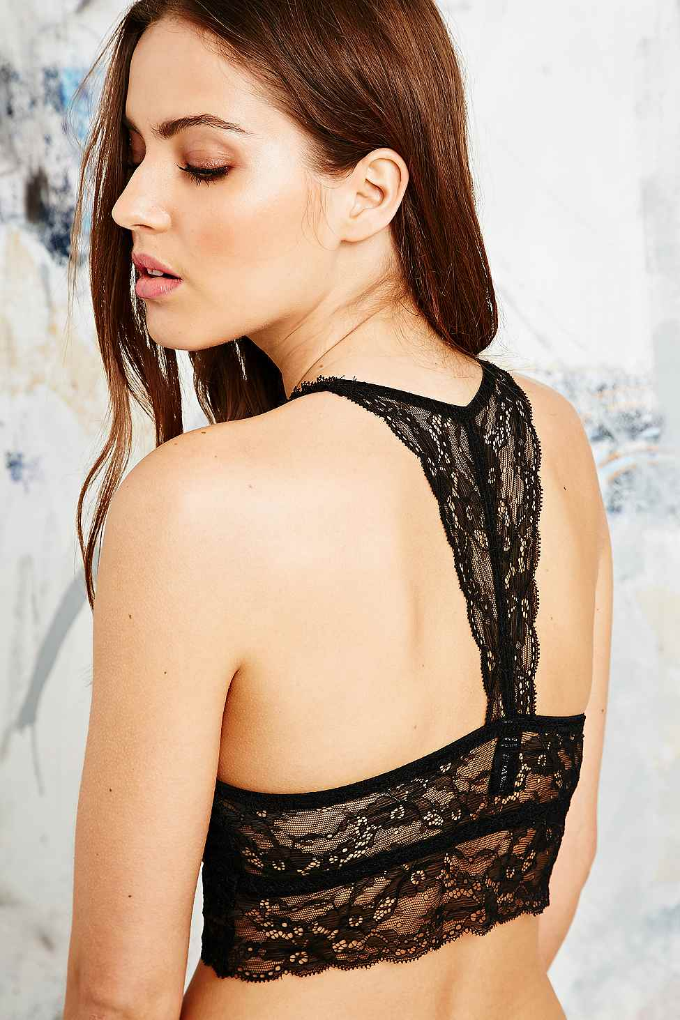01a9d90b59 Urban Outfitters Lace Racerback Bralette In Black in Black - Lyst