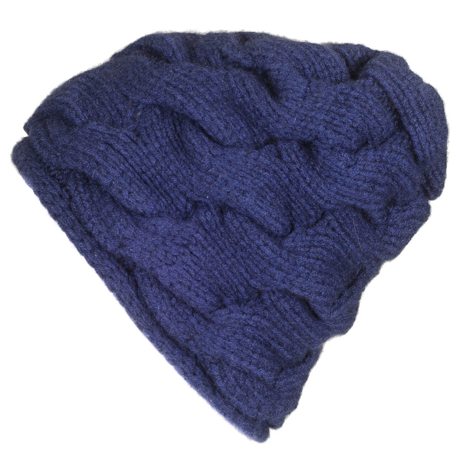 Knitting Pattern For Cashmere Beanie : Black.co.uk Navy Cable Knit Cashmere Beanie Description ...