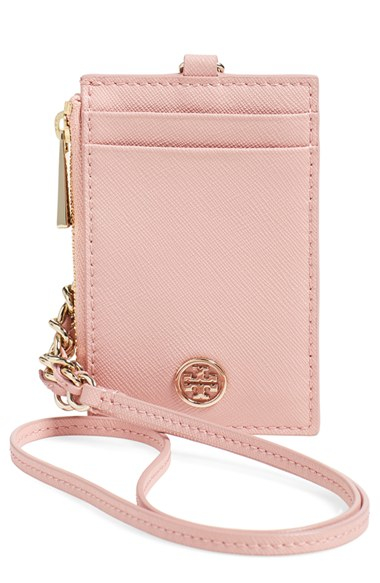 0a26d9172053 Lyst - Tory Burch  robinson  Saffiano Leather Card Case in Pink