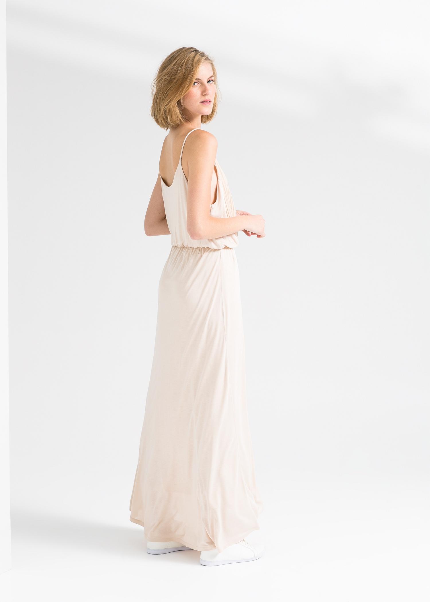 Lyst - Mango Pleated Long Dress in White
