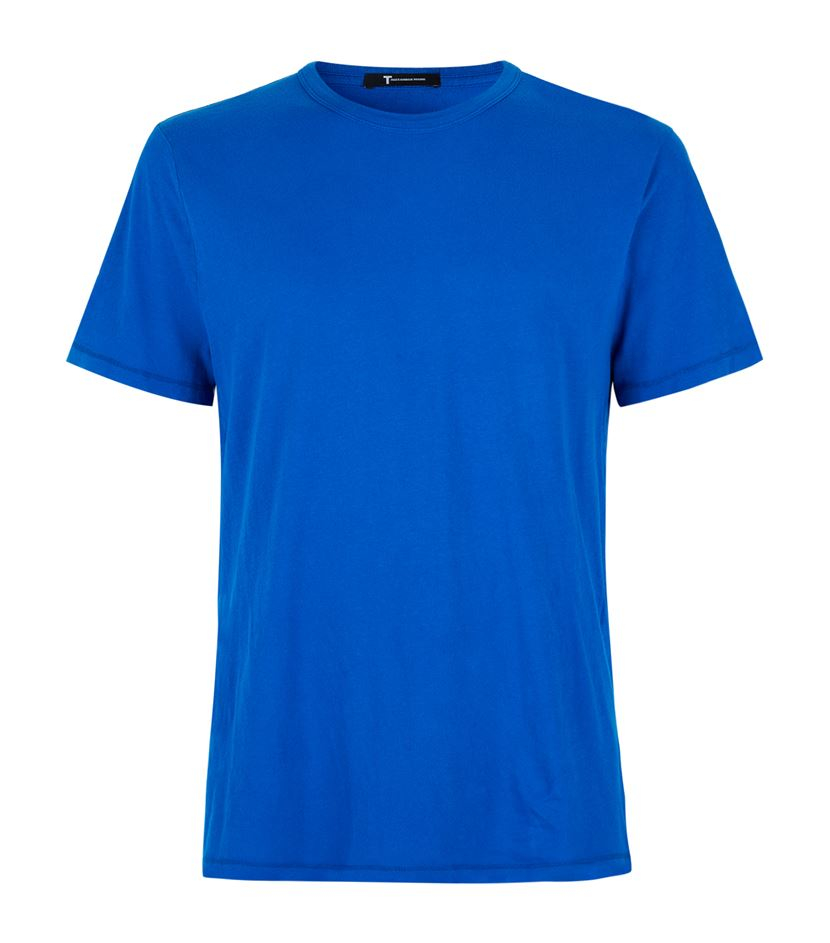 T By Alexander Wang Round Neck Pima Cotton T Shirt In Blue