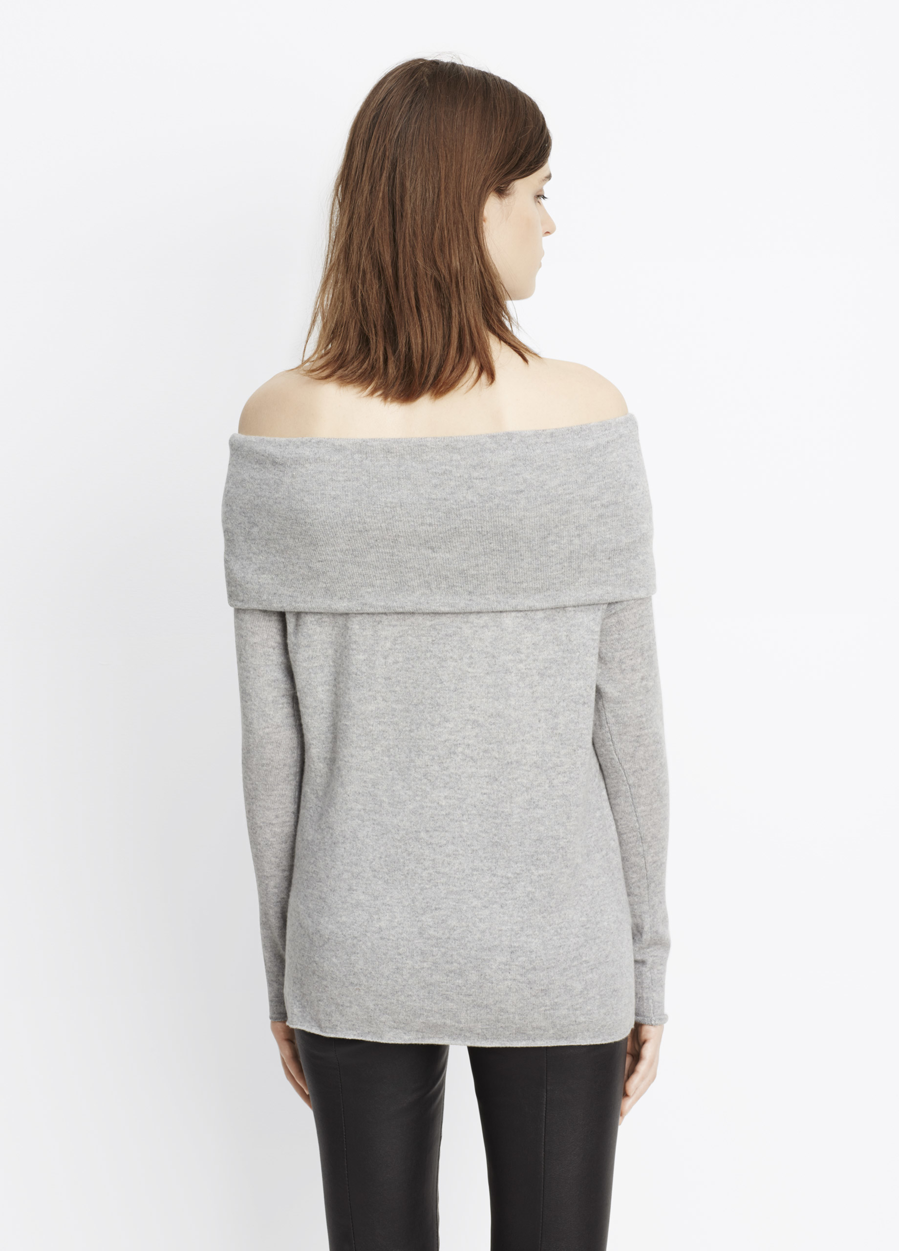 Vince Cashmere Off-the-shoulder Relaxed Pullover Sweater in Gray ...