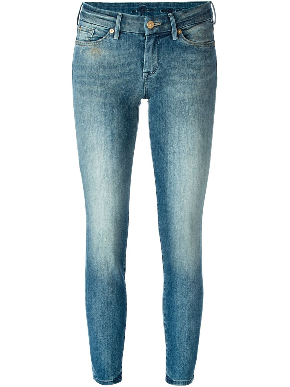 7 for all mankind skinny jeans in blue lyst. Black Bedroom Furniture Sets. Home Design Ideas