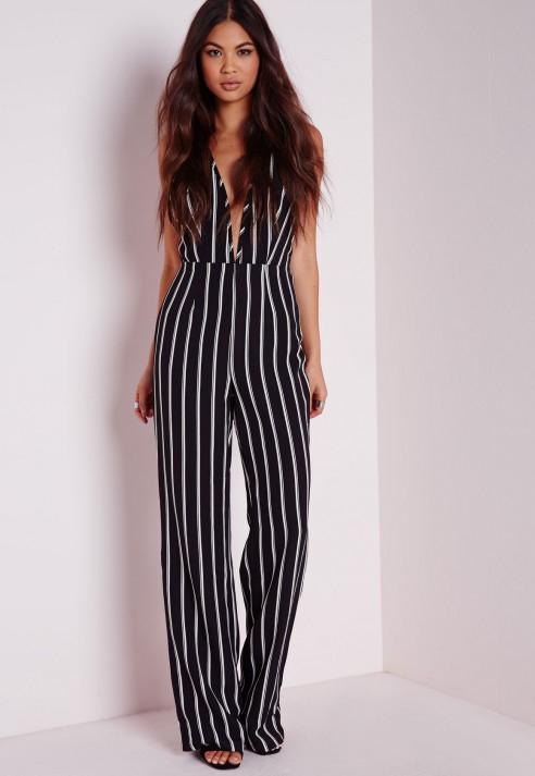 3f49ecd068f Lyst - Missguided Petite Striped Halterneck Wide Leg Jumpsuit Black ...