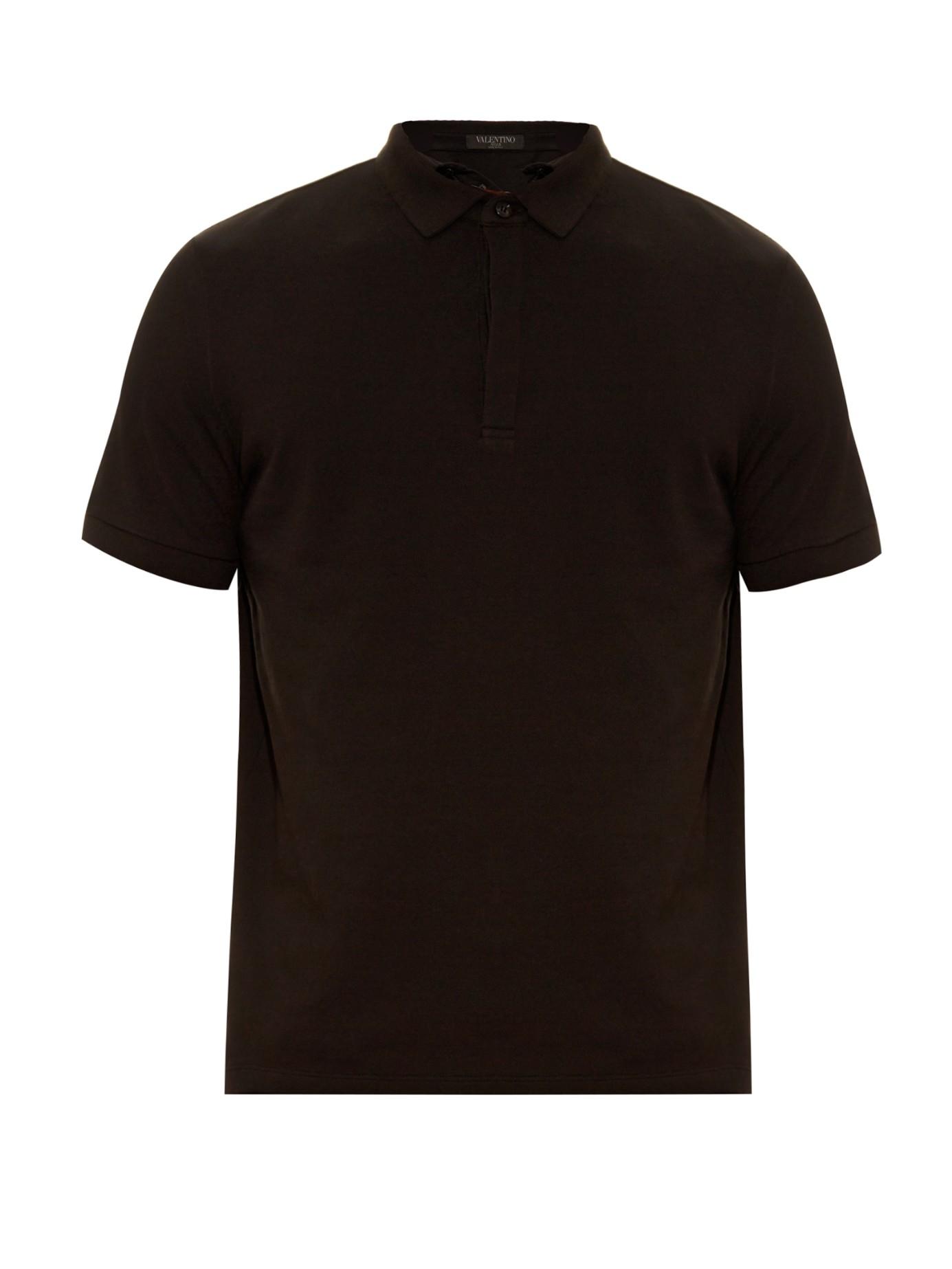 Valentino rockstud cotton piqu polo shirt in black for for Black cotton polo shirt