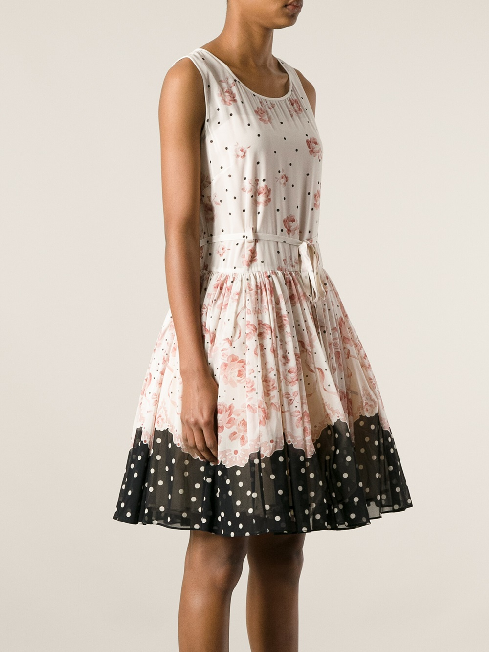 Red Valentino Spring 2016: Red Valentino Floral Print Dress In White