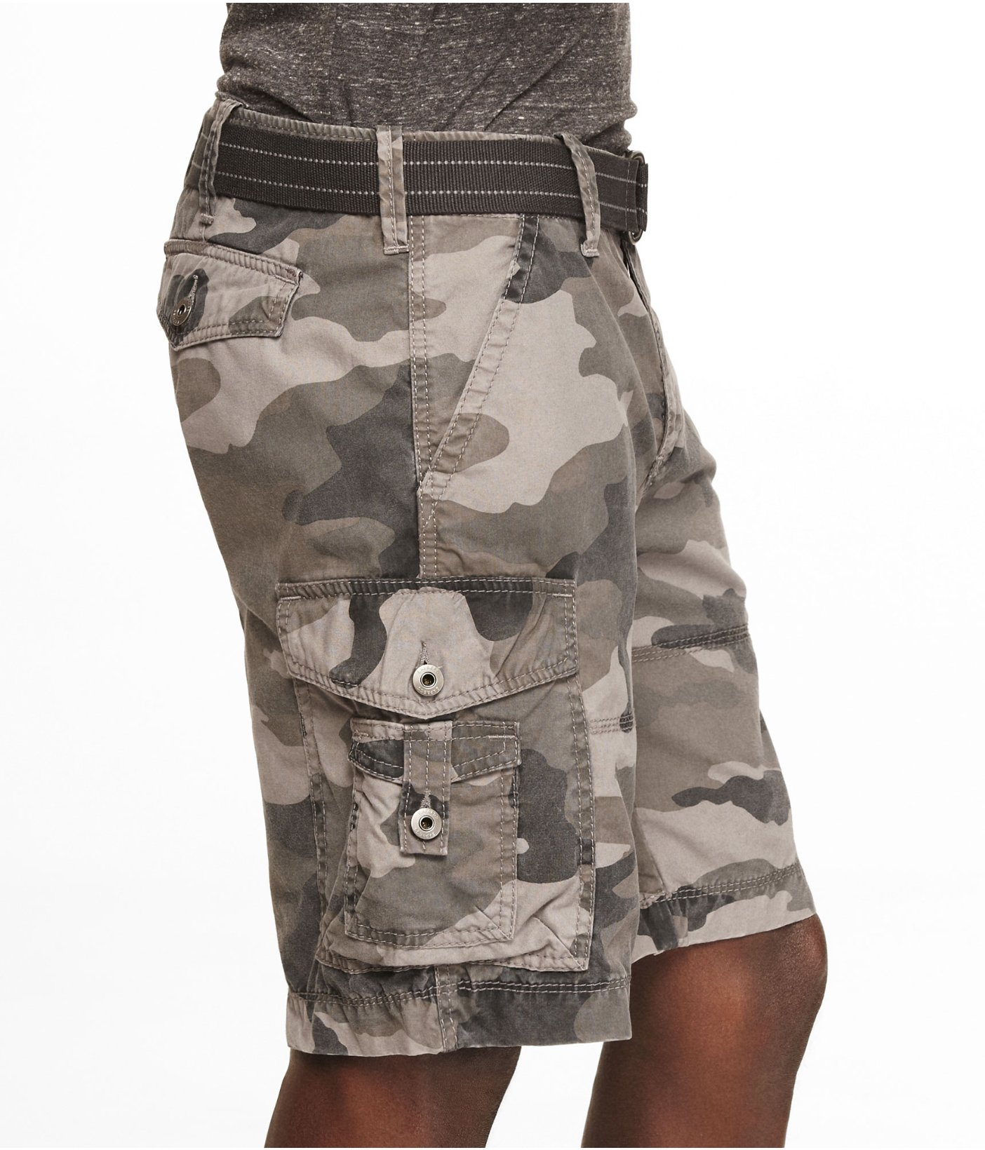 0e4f41755c2 Lyst - Express 10 Inch Belted Camouflage Cargo Shorts for Men
