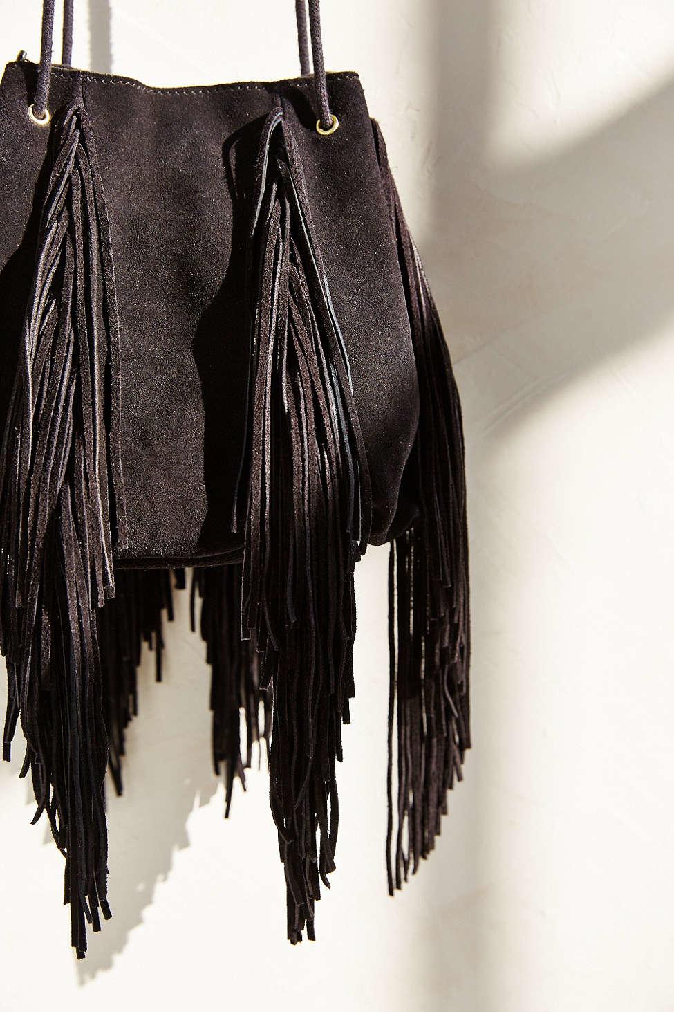 ecote fringe bag in black lyst
