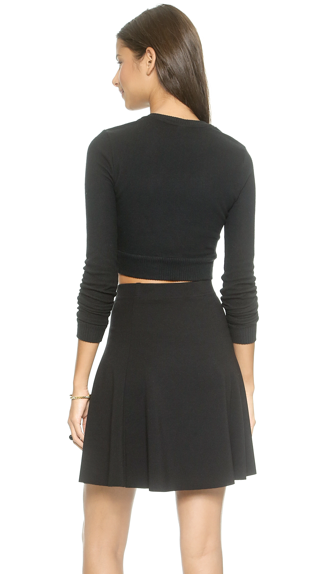 Three Dots Brushed Knit Cropped Sweater Black In Black