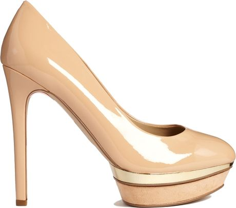 Mango Nude Patent Platform Court Shoes in Brown ...