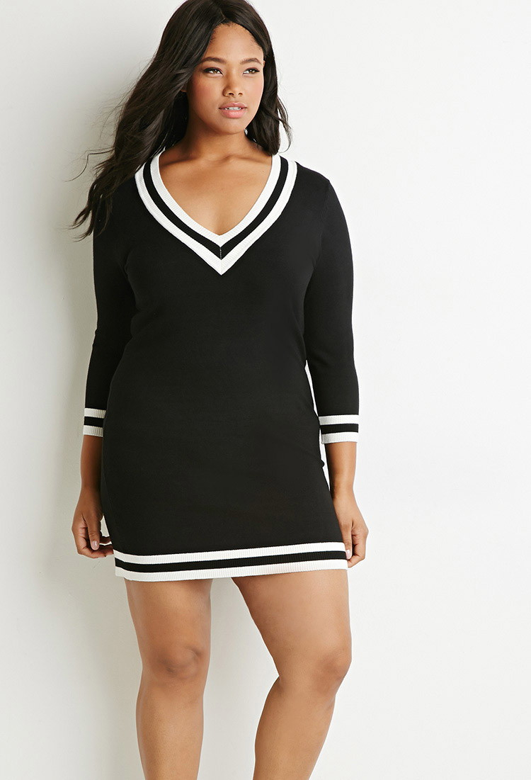 df7fd339993 Forever 21 Plus Size Varsity-striped Sweater Dress in Black - Lyst