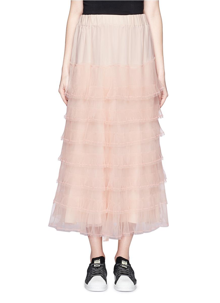 nicopanda ruffle tulle overlay maxi skirt in pink lyst