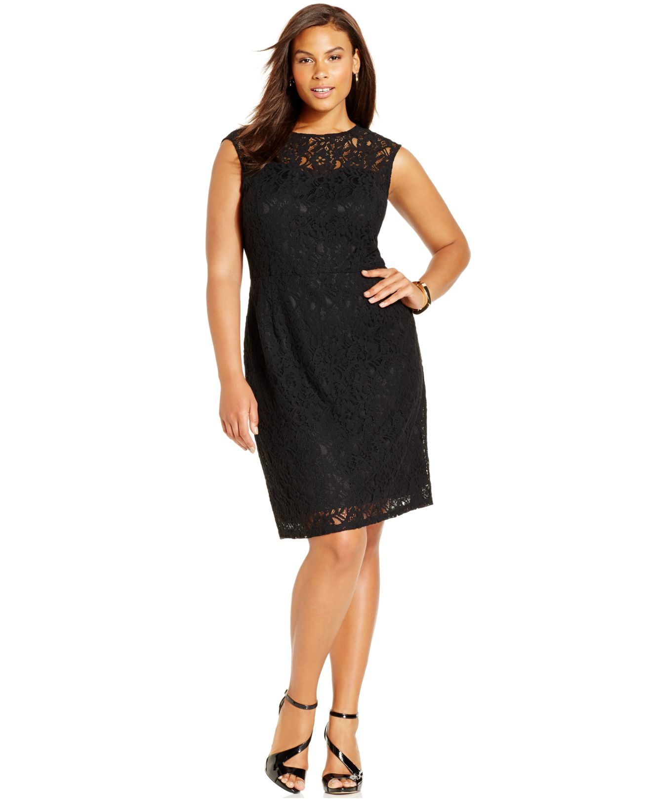 spense plus size illusion lace dress in yellow | lyst
