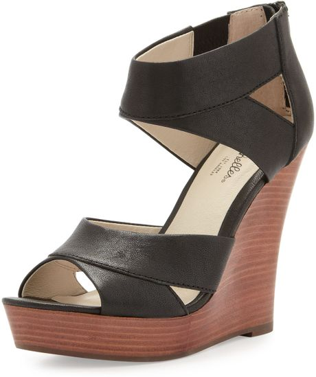 seychelles give it back leather wedge black in black lyst