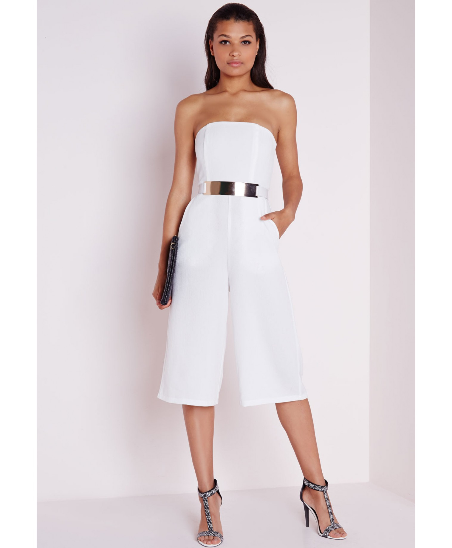 a7423f970554 Lyst - Missguided Bandeau Culotte Jumpsuit White in White