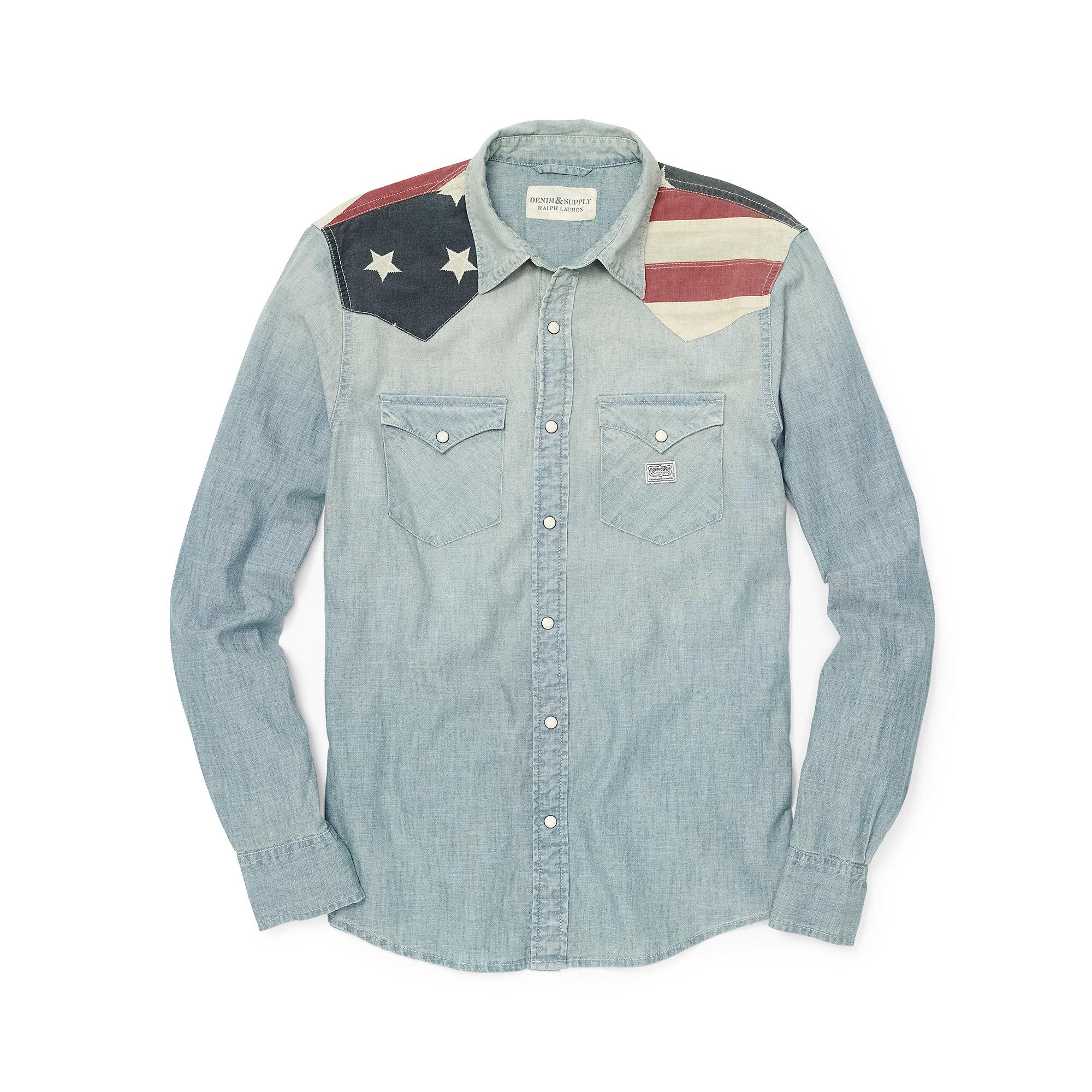 9813025569 Lyst - Denim   Supply Ralph Lauren Flag Chambray Western Shirt in ...