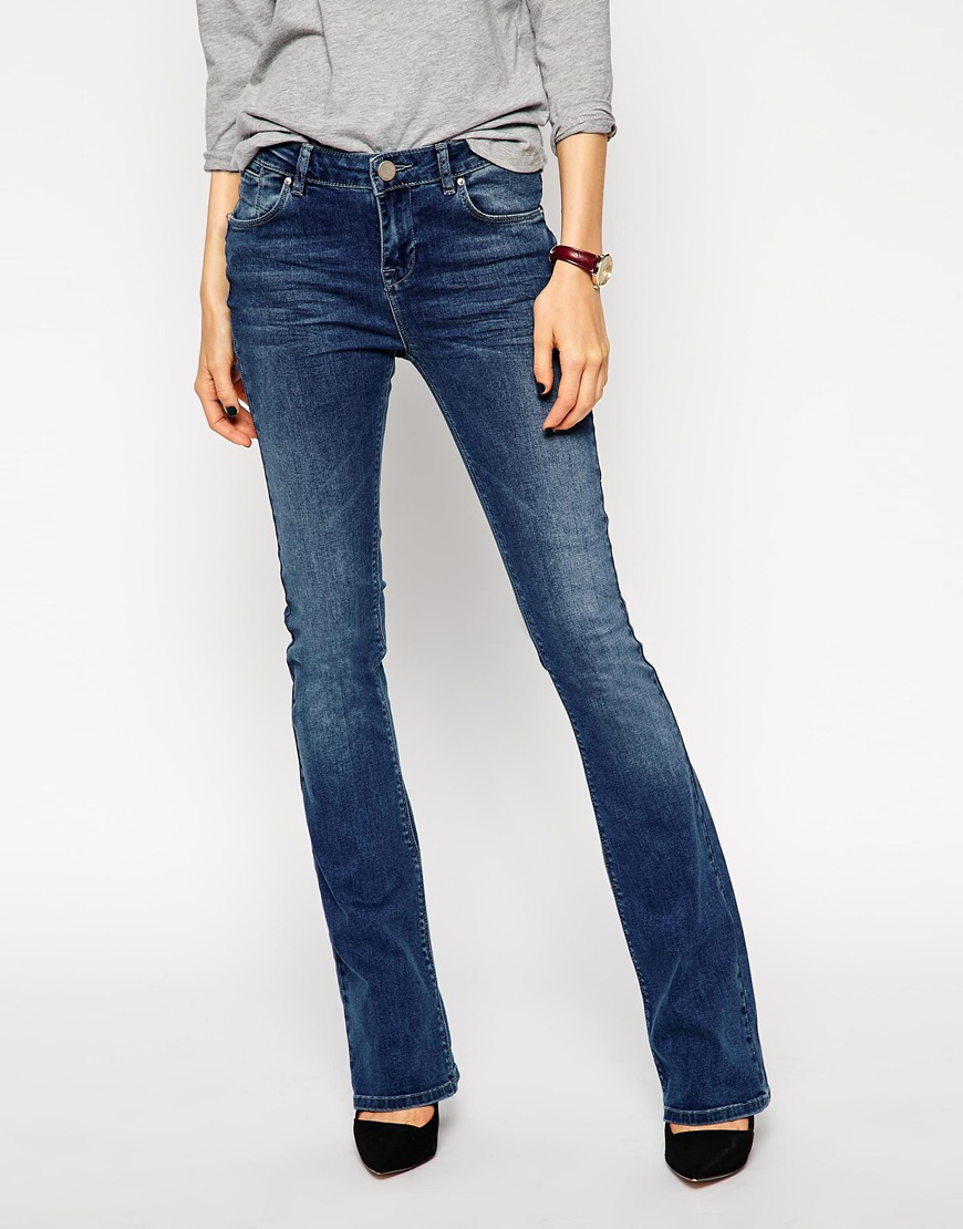 Asos Baby Kick Flare Jeans In Boston Mid Wash in Blue | Lyst
