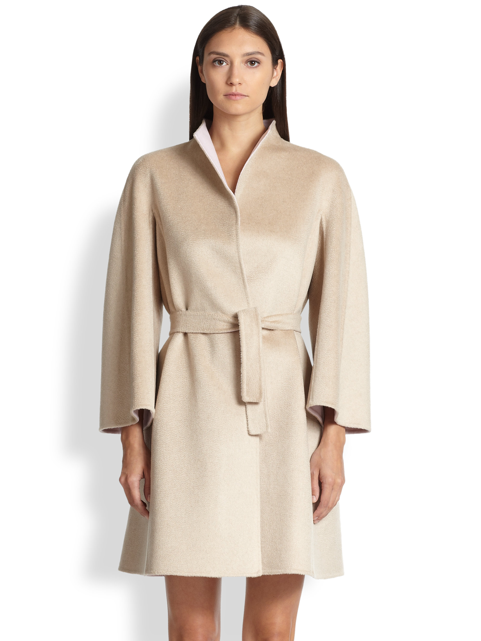 Max mara Reversible Cashmere-Blend Coat in Pink | Lyst