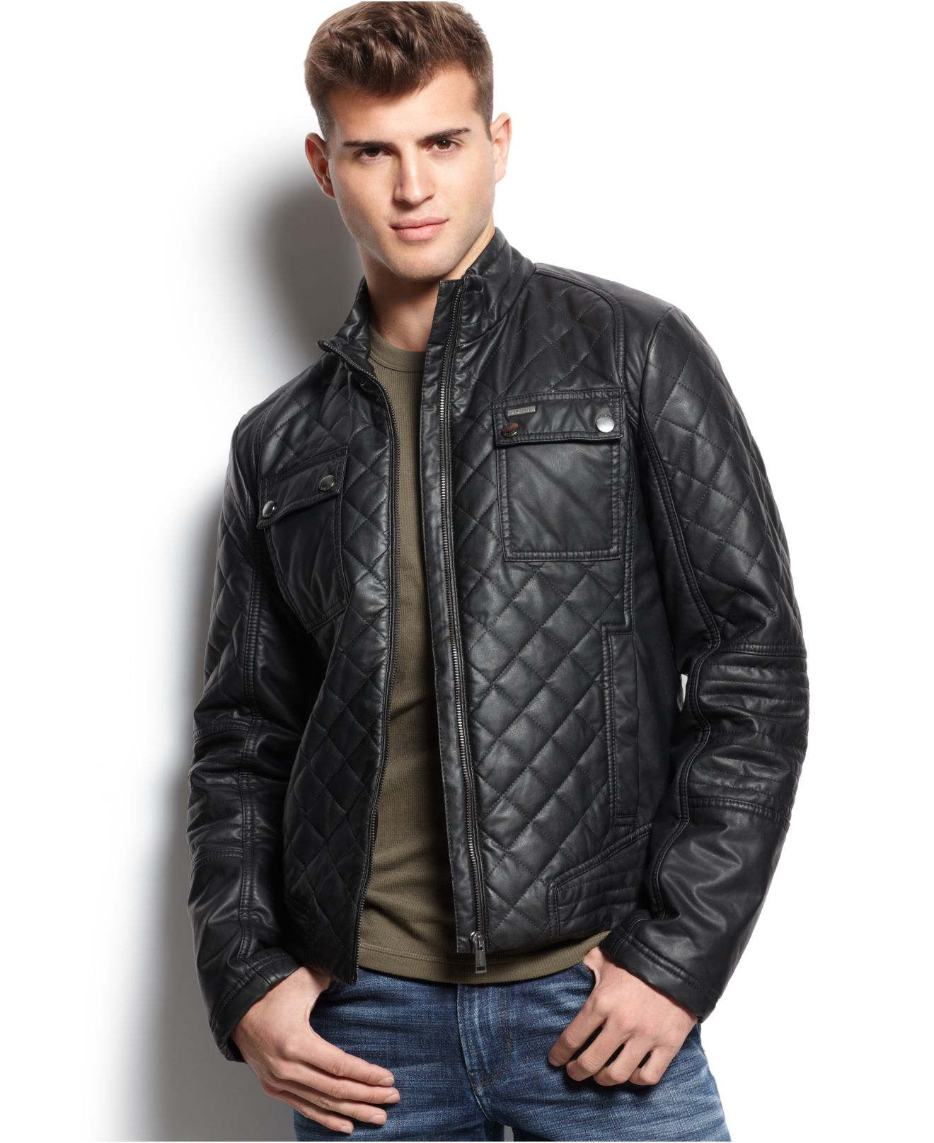 e837e2fa4f73 Lyst - Guess Diamond Quilted Jacket in Black for Men