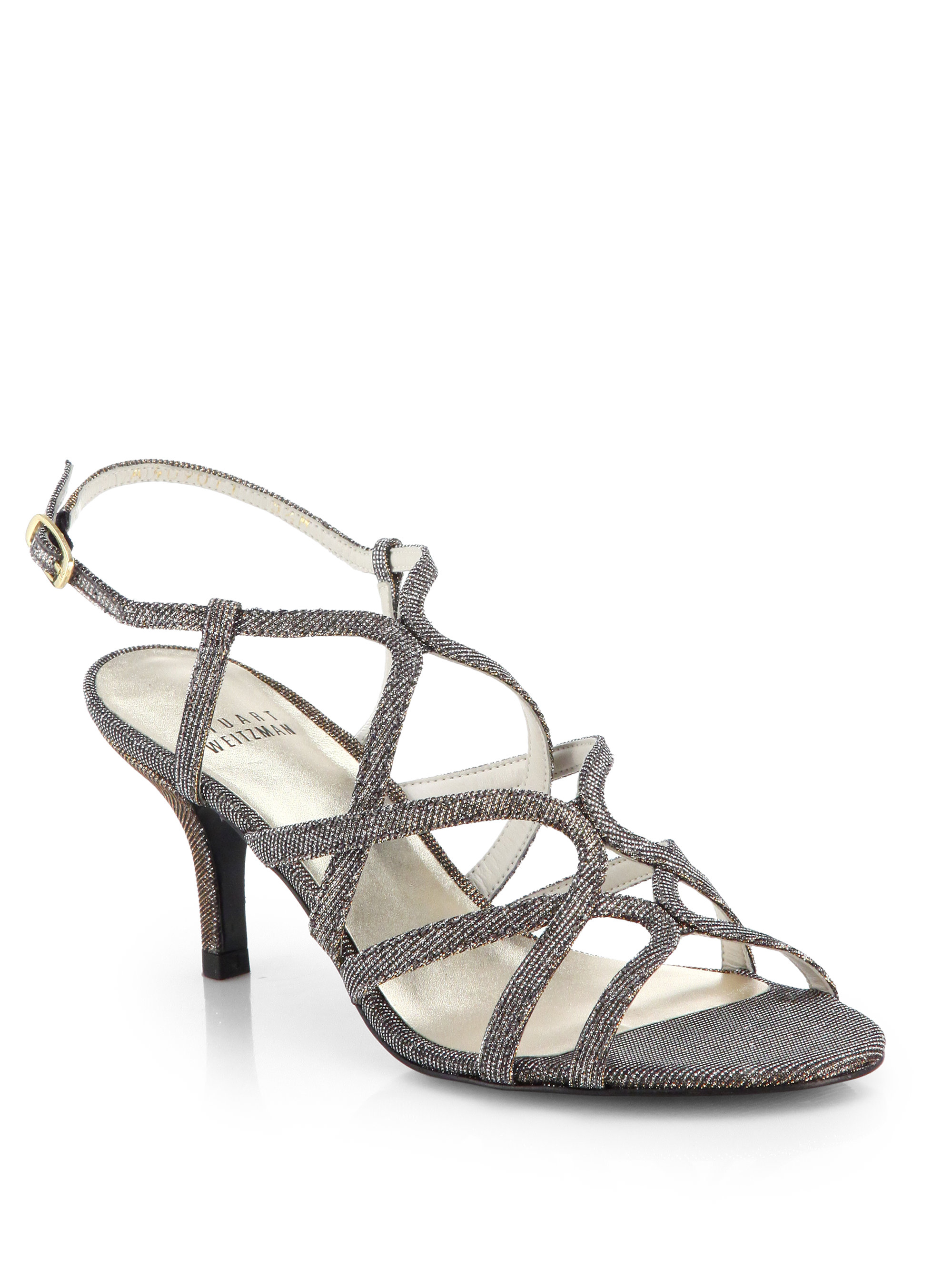 9139c735d Lyst - Stuart Weitzman Turning Up Shimmer Strappy Sandals in Gray