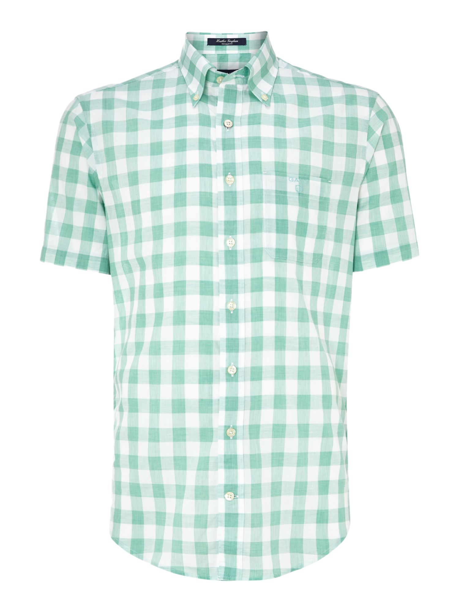 Gant Short Sleeve Gingham Shirt In Green For Men Sage Lyst