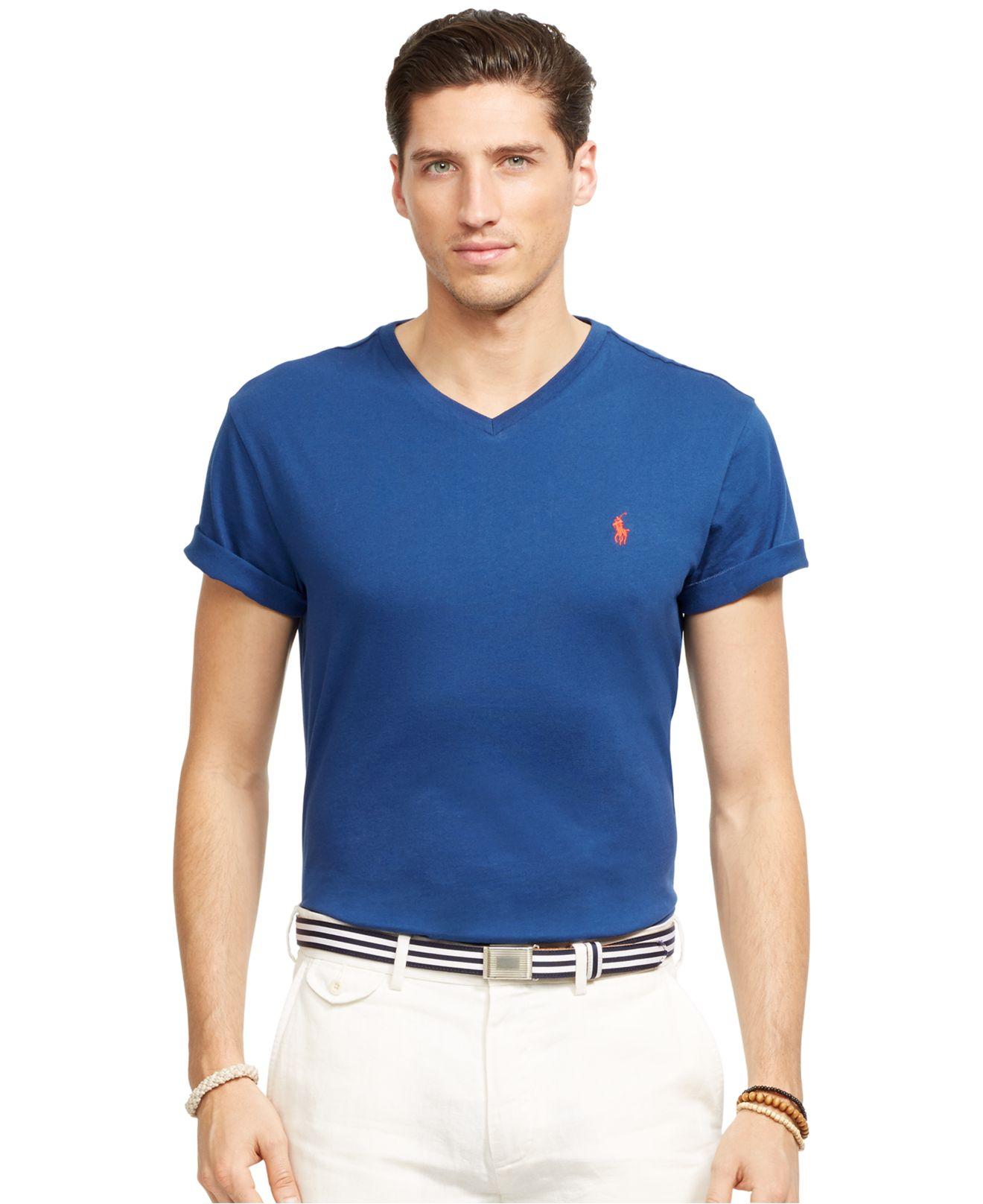 Lyst polo ralph lauren jersey v neck t shirt in blue for men for Ralph lauren polo jersey shirt