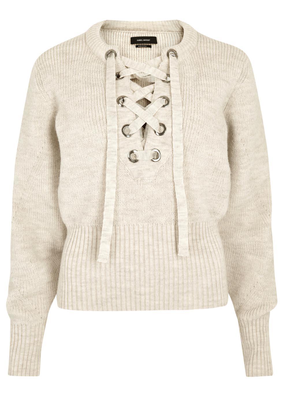 c48f70c04f Isabel Marant Charley Ecru Lace-up Wool Blend Jumper in Natural - Lyst