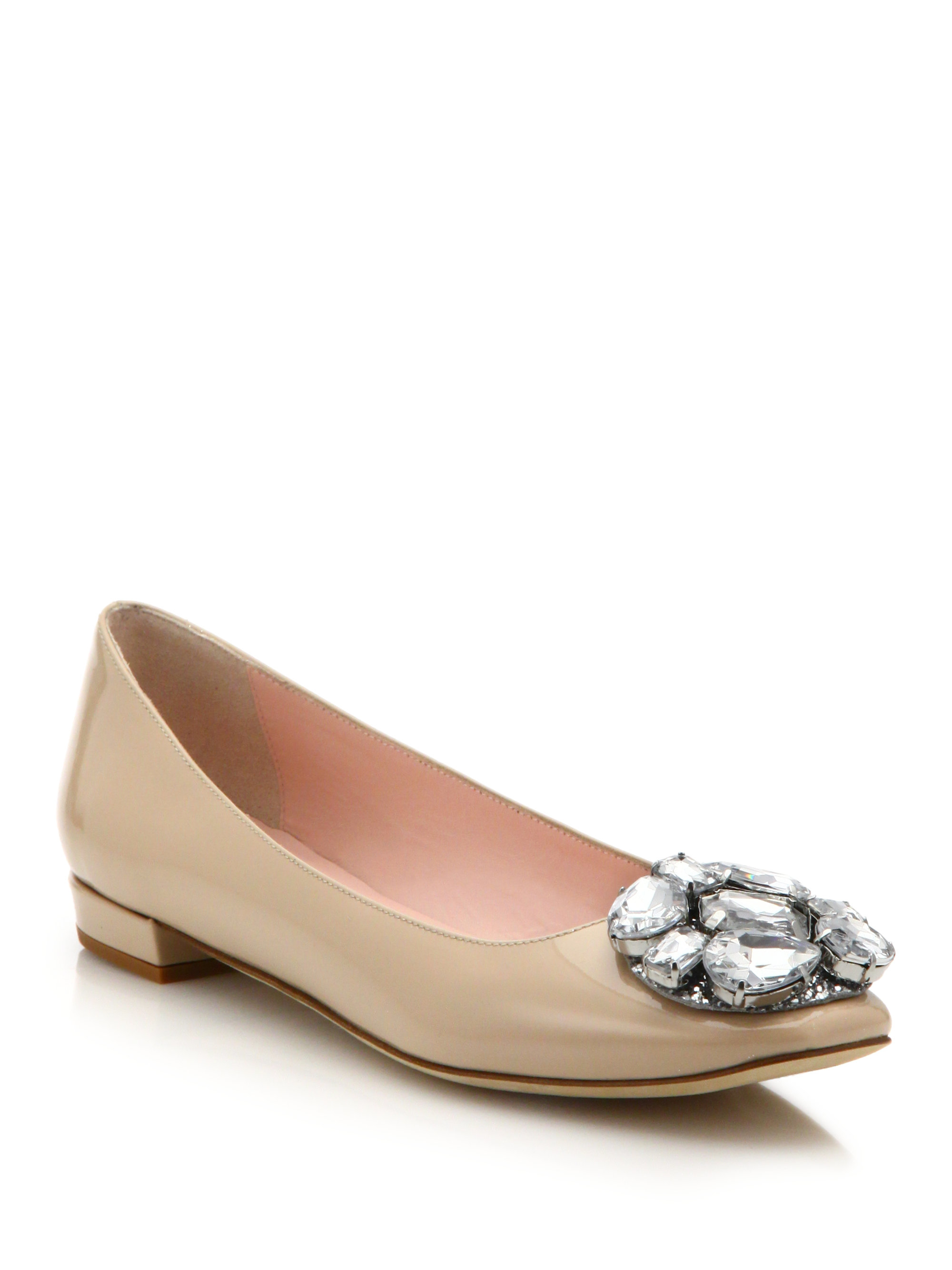 aff049931848 Lyst - Kate Spade Nena Patent Leather Jewel Cluster Ballet Flats in ...