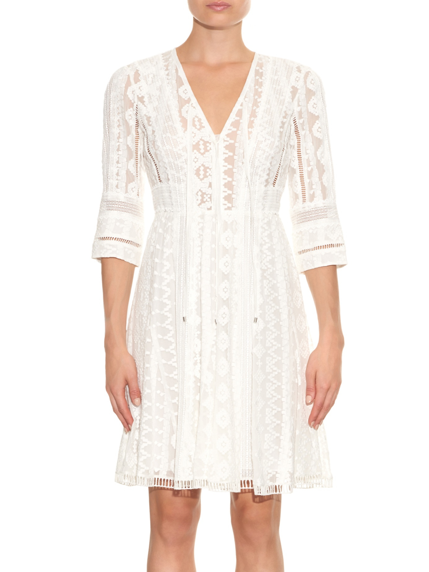 Lyst rebecca taylor embroidered silk chiffon dress in white