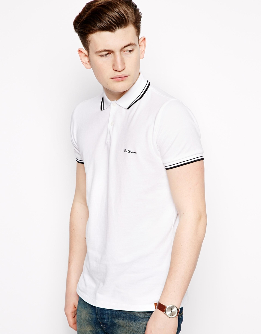 ben sherman polo shirt in white for men lyst. Black Bedroom Furniture Sets. Home Design Ideas