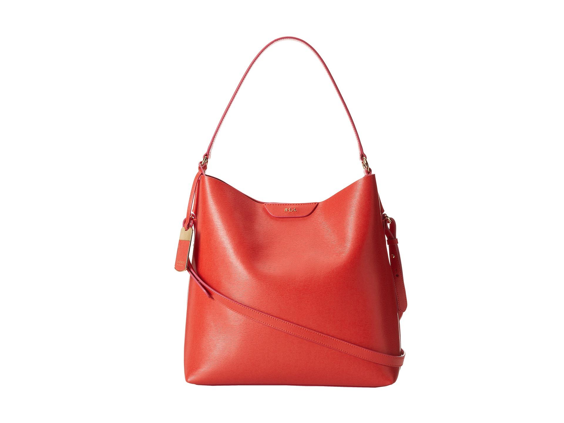 b35b60e05d9b Lyst - Lauren by Ralph Lauren Tate Hobo in Red