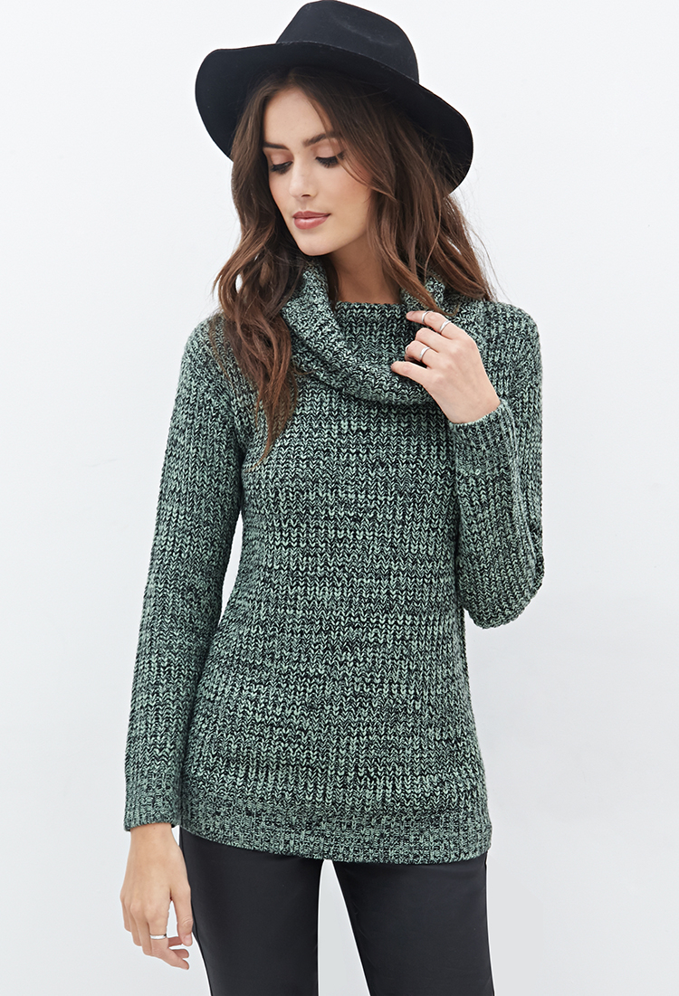 Forever 21 Contemporary Cowl Neck Sweater in Green | Lyst