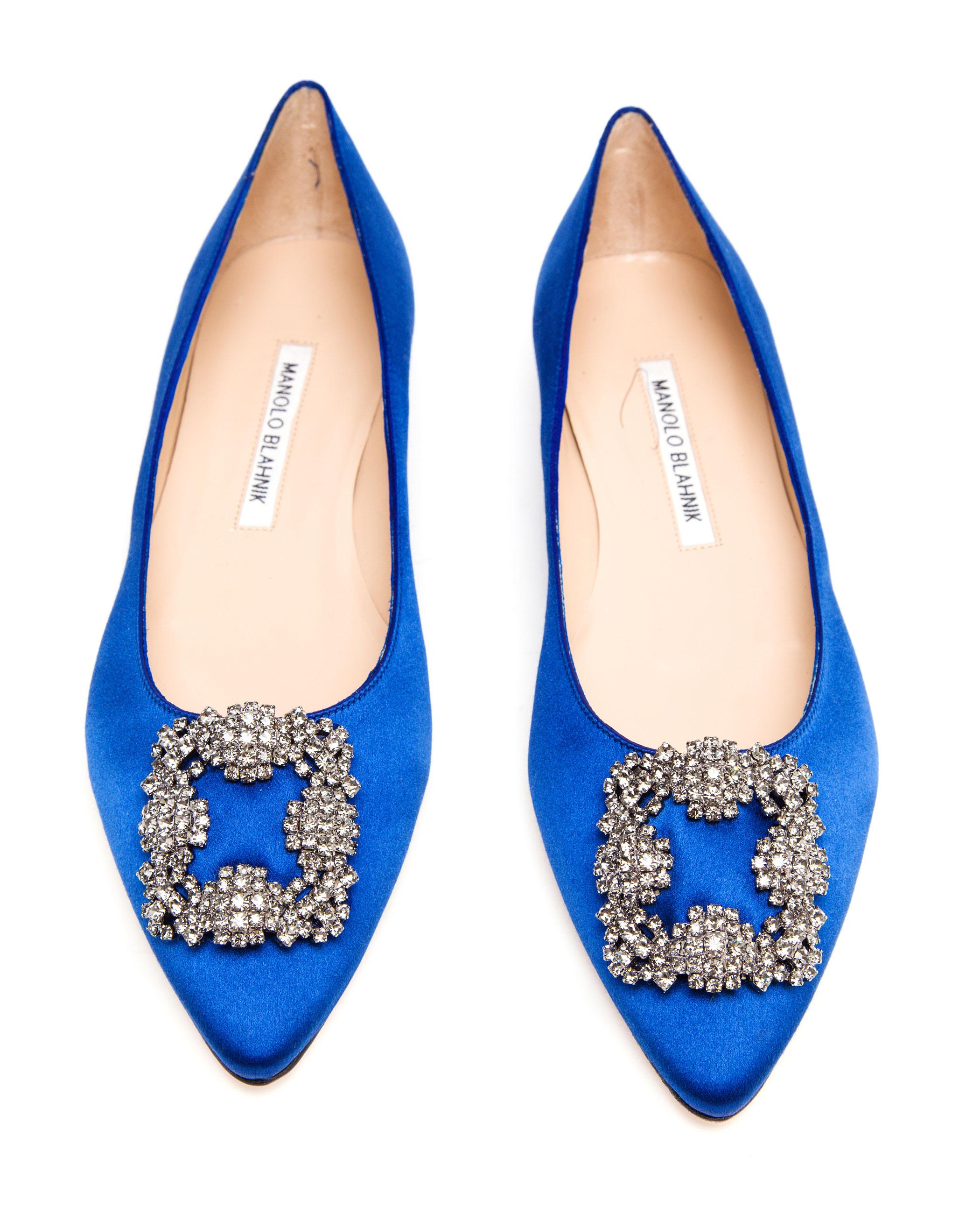 d5689775a19 ... order lyst manolo blahnik hangisi embellished satin flats in blue 16f55  60303