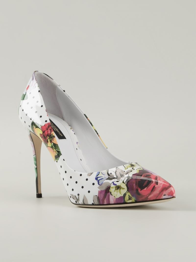 Floral-printed patent leather pumps Dolce & Gabbana wRYew