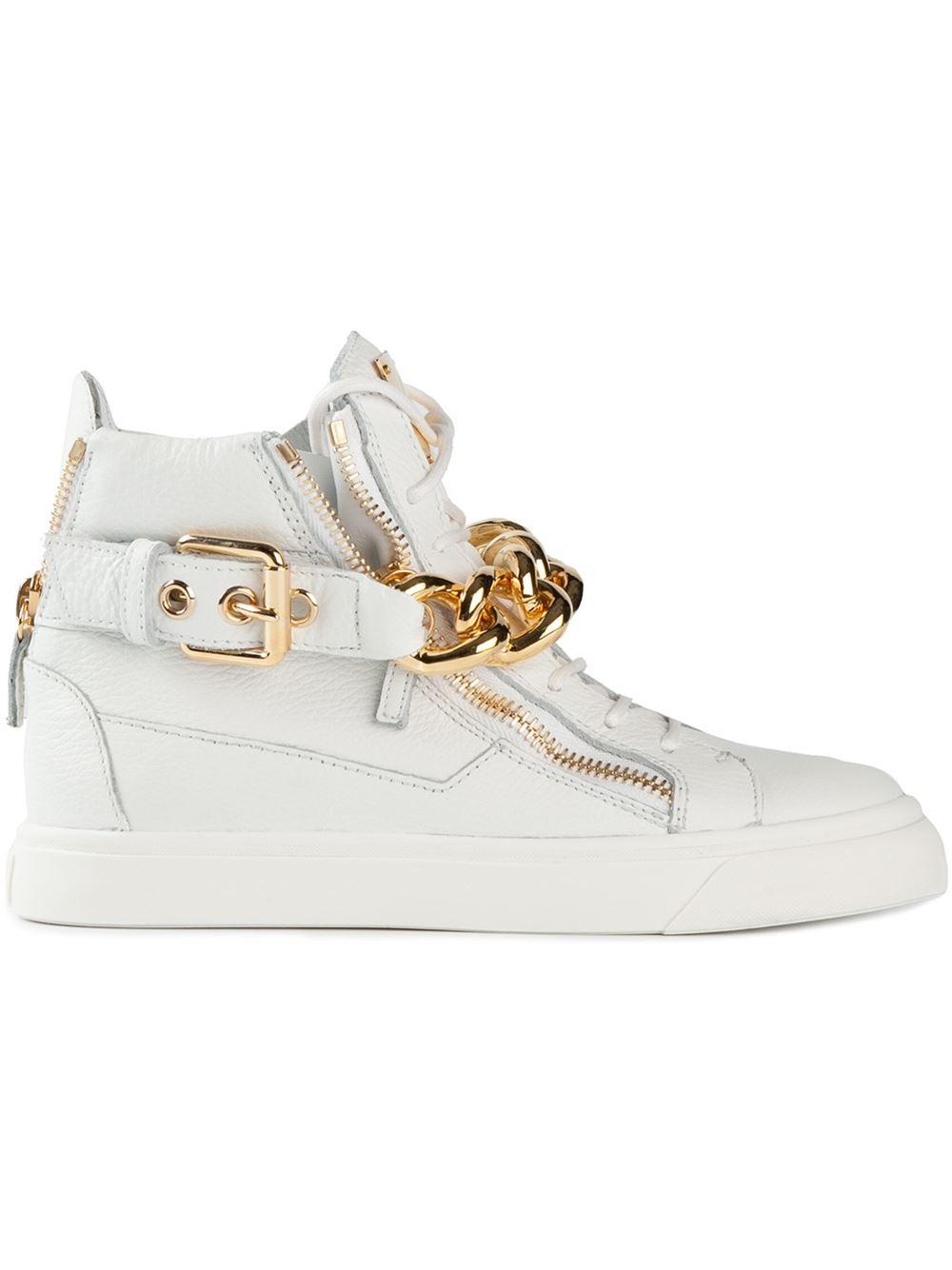 9147ca063777 Lyst - Giuseppe Zanotti Gold Chain Sneakers in White