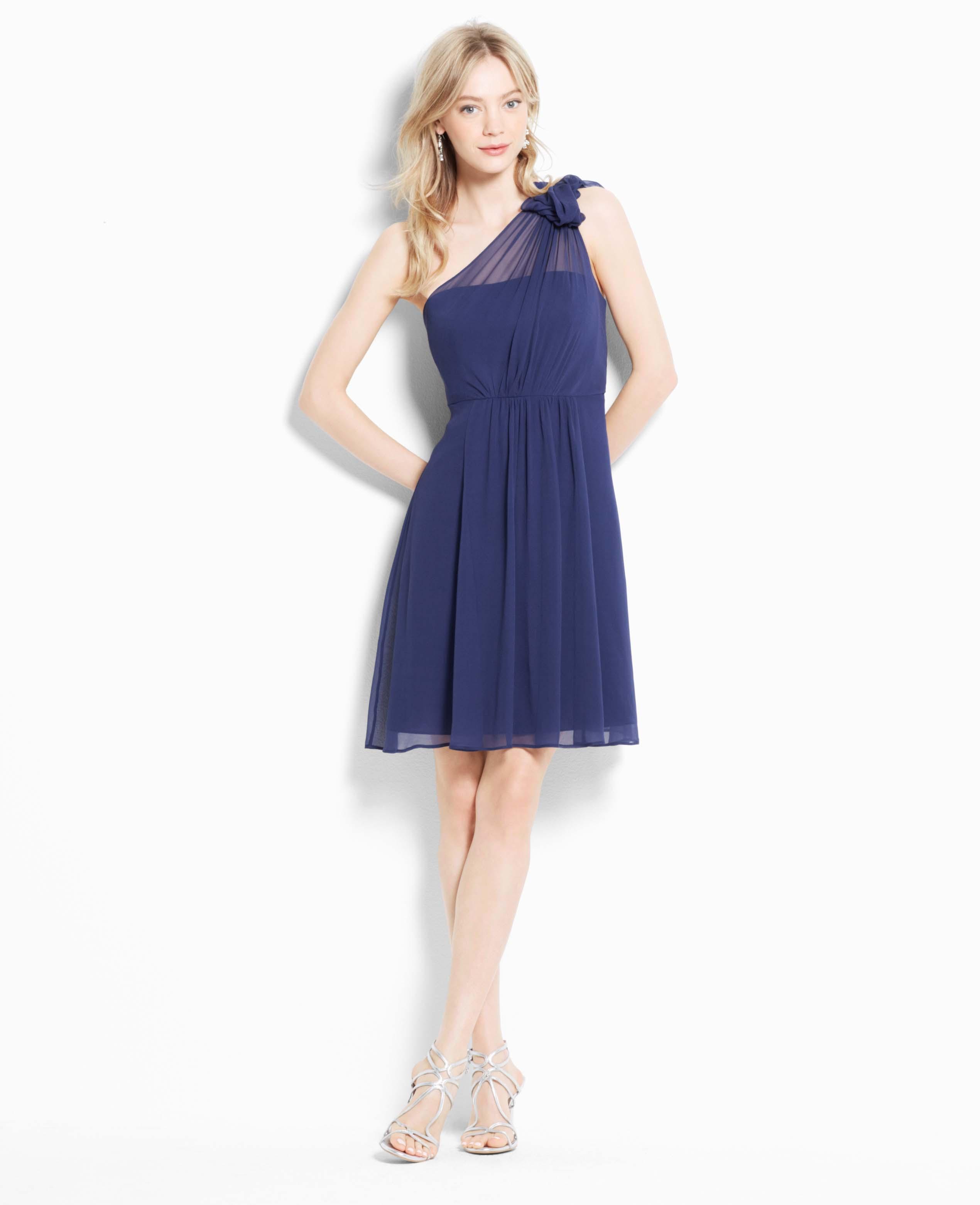 Ann taylor petite silk georgette flower one shoulder dress for Silk georgette wedding dress