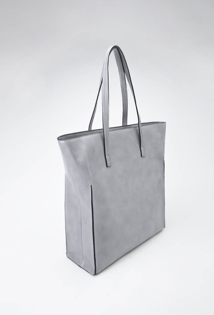 5af6f1d57ca3 Lyst - Forever 21 Structured Faux Leather Tote in Gray