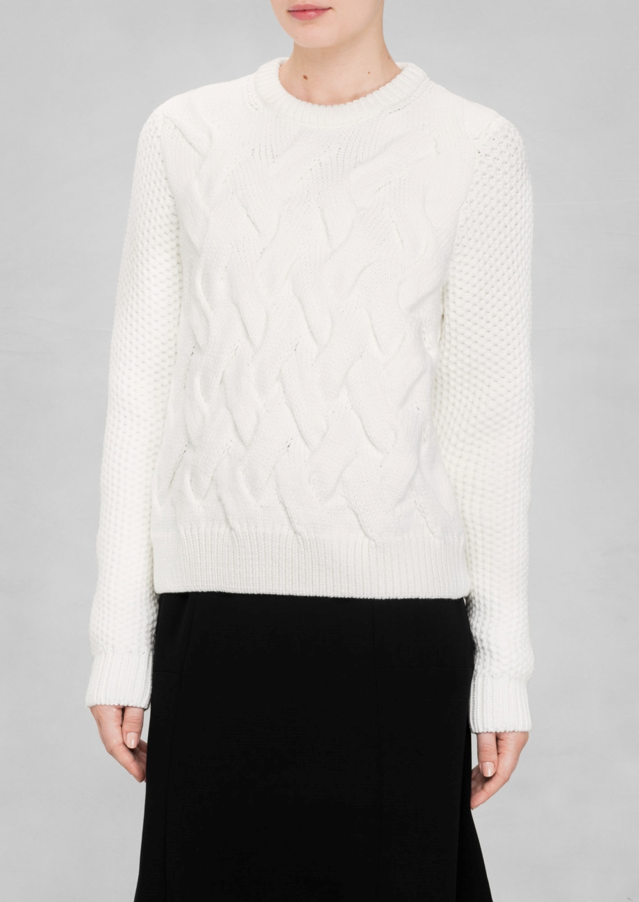 & other stories Chunky Cable-knit Sweater in White | Lyst